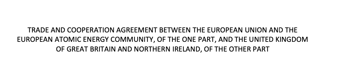 Screenshot of title page of the EU/UK agreement