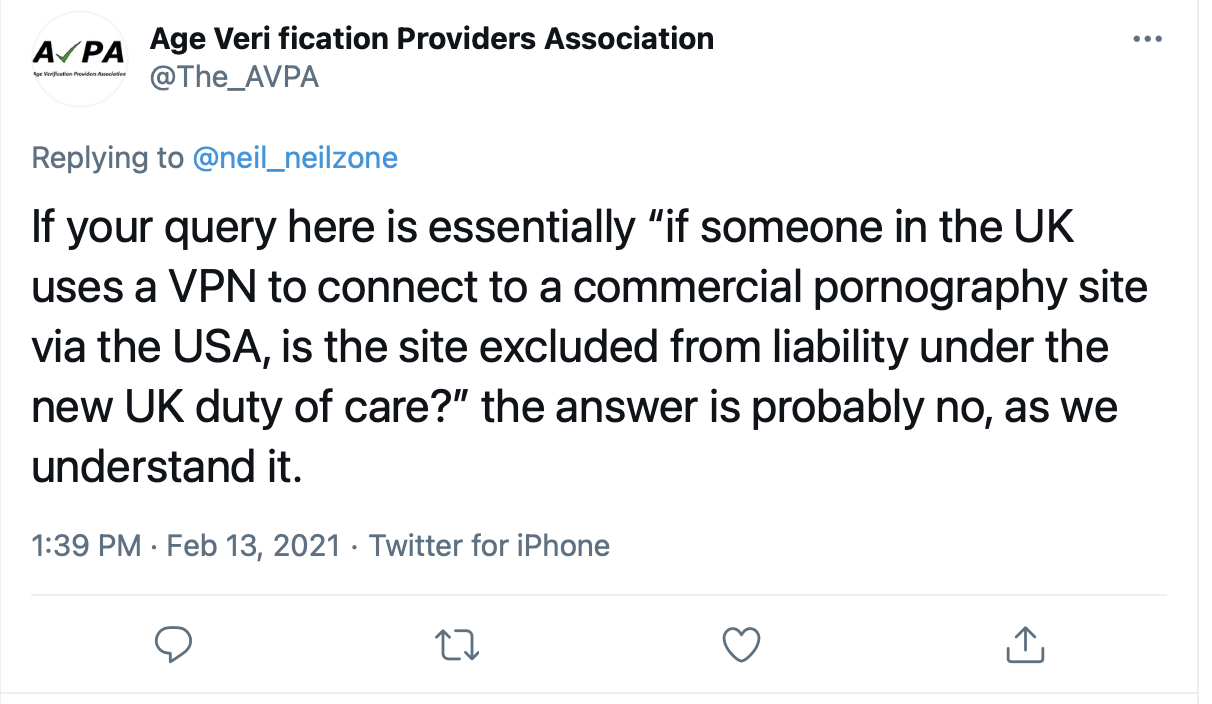 Tweet from the Age Verification Providers Association