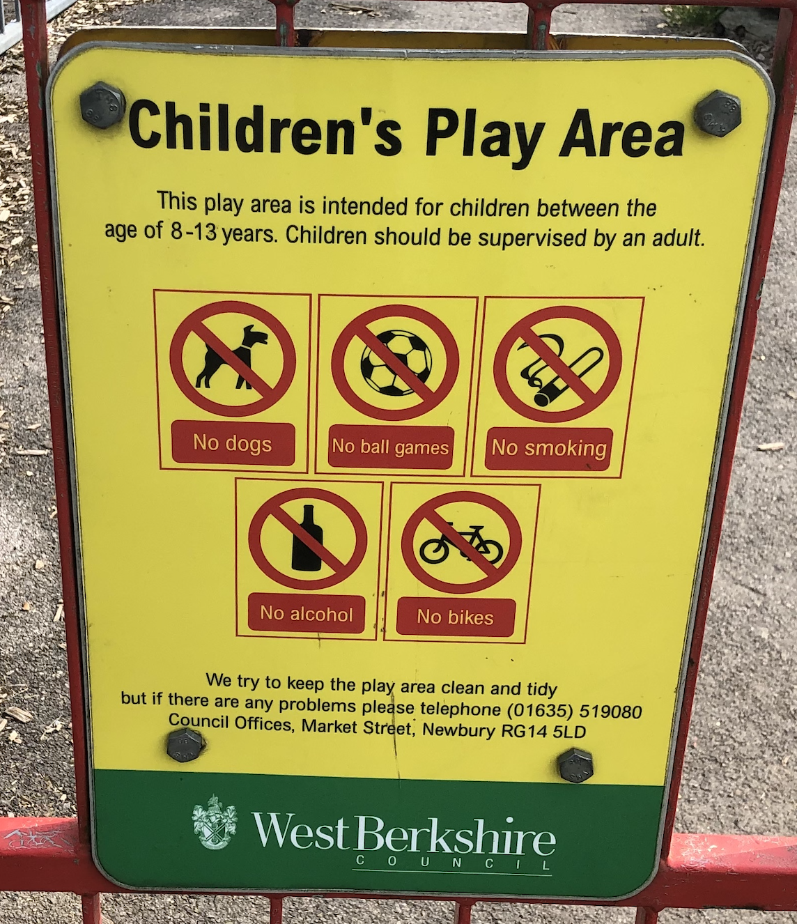 Children's play area sign