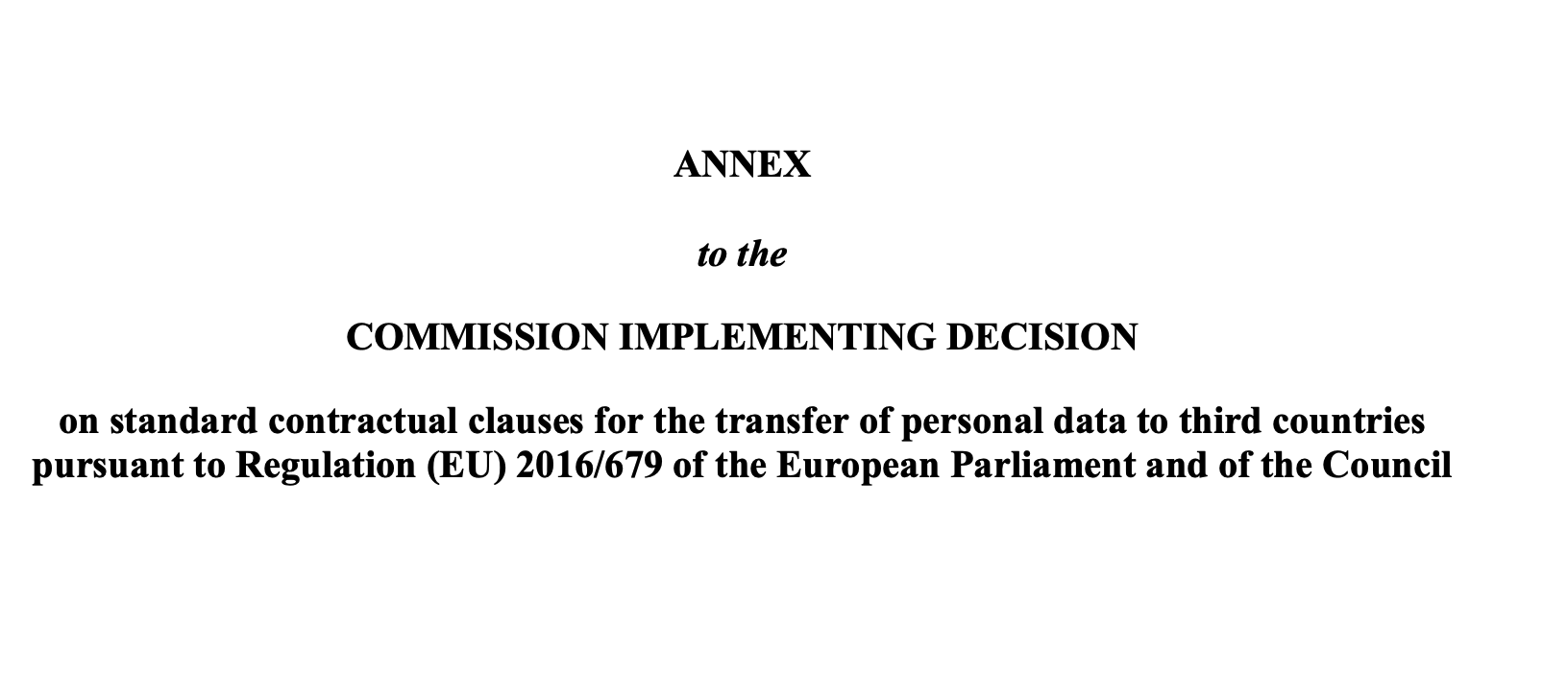 Screenshot of title of new clauses