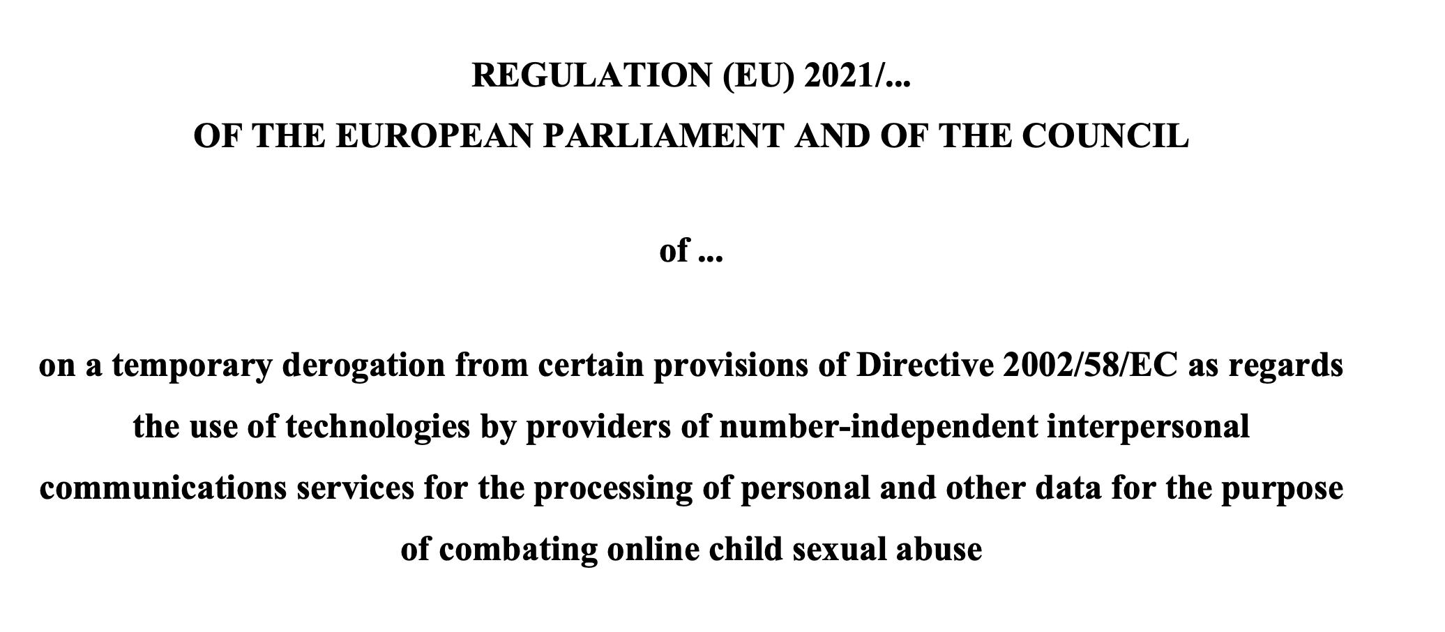 screenshot of header of regulation text