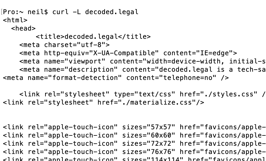 screenshot of curl accessing decoded.legal